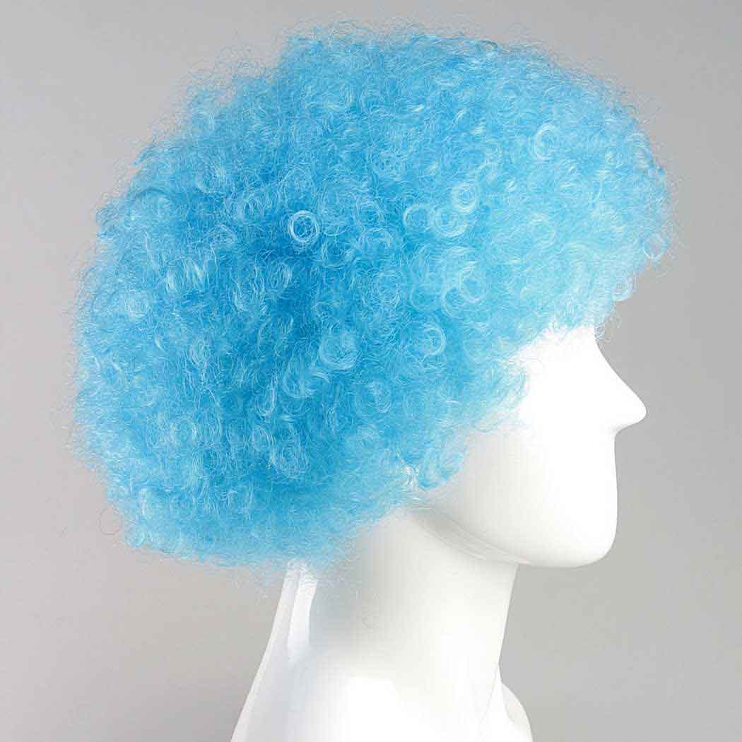 flagwigs, football wigs, fan wigs, afro wigs, mullet wigs, bob wigs, euro wigs,  premier league wigs,Light Blue Afro Wig