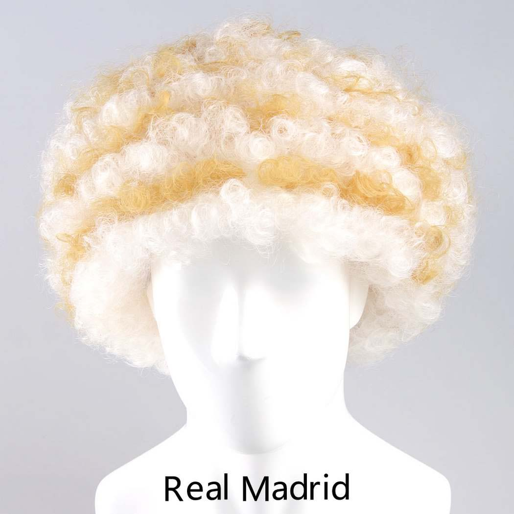 flagwigs, football wigs, fan wigs, afro wigs, mullet wigs, bob wigs, euro wigs,  premier league wigs,Real Madrid Afro Wig